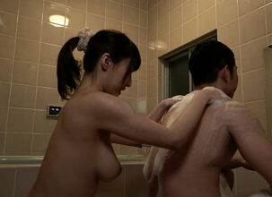 Asian girl showering